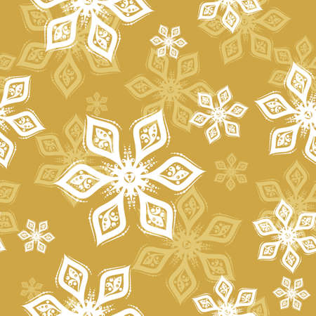 White and yellow Snowflake seamless pattern on golden background. Vector holiday illustration for greeting card, decoration, sign, banner, Christmas accessories, wrapping paper, textile. Vintage style