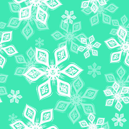 White and mint green Snowflake seamless pattern on green background. Vector holiday illustration for greeting card, decoration, sign, banner, Christmas accessories, wrapping paper, textile. Vintage style 矢量图像
