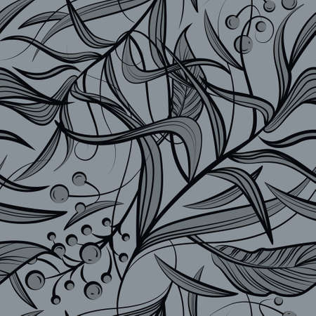 Floral seamless pattern with black flowers, leaf, berries. Vector line art for luxury invitation design, fashion, textile, greeting cards, gift wrapping paper, scrapbooking. Silver background