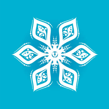 Snowflake silhouette icon or emblem on blue background. Vector holiday illustration for greeting card, decoration, sign, banner, Christmas accessories 矢量图像