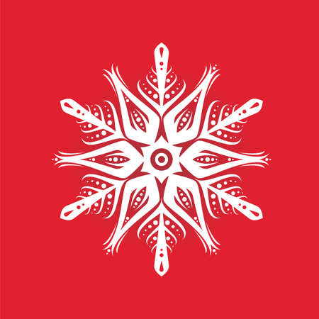 Snowflake silhouette icon or emblem on red background. Vector holiday illustration for greeting card, decoration, sign, banner, Christmas accessories