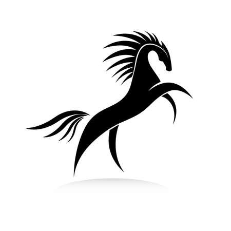 Stylized horse image in black and white. Equine silhouette standing on its hind legs. Vector illustration. Works well as a tattoo, icon, emblem, print or mascot.