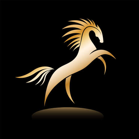 Stylized golden horse image on black background. Equine silhouette standing on its hind legs. Vector illustration. Works well as a tattoo, icon, emblem, print or mascot.