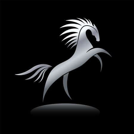 Stylized silver horse image on black background. Equine silhouette standing on its hind legs. Vector illustration. Works well as a tattoo, icon, emblem, print or mascot. 矢量图像