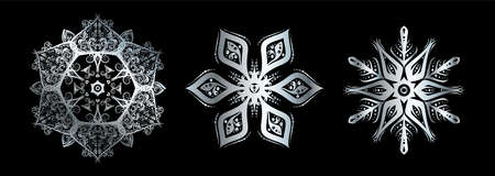 Snowflake set silhouette icon or emblem. Silver on black background. Vector holiday illustration for greeting card, decoration, sign, banner, Christmas accessories. Vintage style