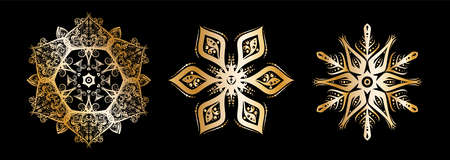Snowflake set silhouette icon or emblem. Golden on black background. Vector holiday illustration for greeting card, decoration, sign, banner, Christmas accessories. Vintage style 矢量图像