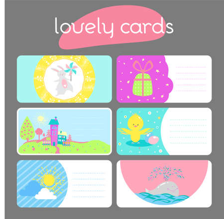 Six lovely horizontal seasonal summer and spring cards with cute rabbit, chicken, whale, sun, and gifts in vector for stickers, bookmarks, banners, prints and different kinds of childish accessories.