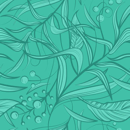 Floral seamless pattern with mint green flowers, leaf, berries. Vector line art for luxury invitation design, fashion, textile, greeting cards, gift wrapping paper, scrapbooking. Green background
