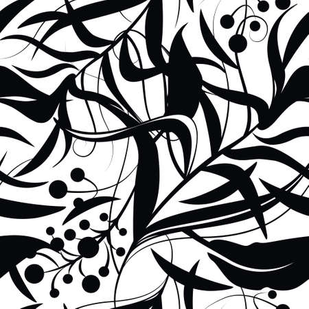 Black and white floral seamless pattern with silhouettes of flowers, leaf, berries. Vector line art for luxury invitation design, fashion, textile, greeting cards, gift wrapping paper, scrapbooking. Ornate background