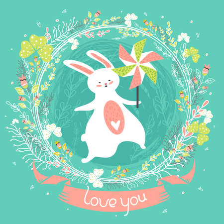 Lovely greeting card with bunny, pinwheel, ornate frame with flowers and cheerful text. Cute summer background in vector. Inspirational poster, banner or invitation in childish funny style. Love you!