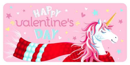 Cute Valentine's Day greeting card with unicorn, scarf, hearts and stars on pink background. Lettering