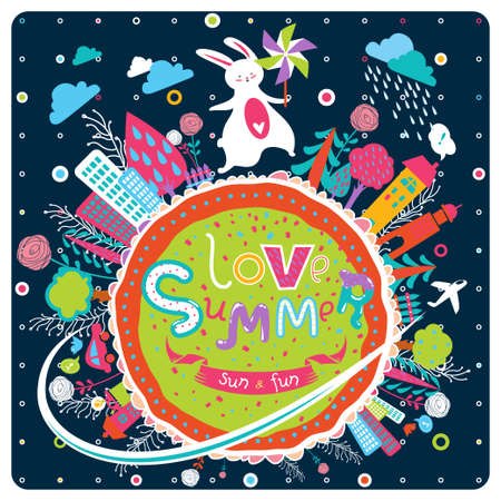 Cute greeting card in vector. Lovely background with bunny, pinwheel, cartoon globe with cities, trees, flowers and cheerful text. Inspirational childish poster or banner. Love summer! 矢量图像