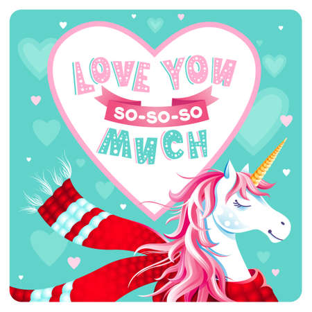 Cute Valentine's Day greeting card with unicorn, hearts on mint green background. Heart shape frame. Lettering