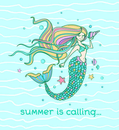 Motivational poster, season greeting card, label or print with mermaid. Lettering