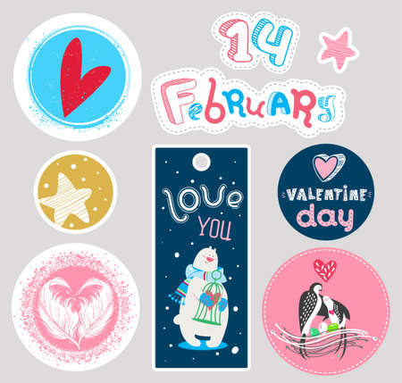 Valentine's Day banners and stickers set. Cute labels, tags, posters design. Vector illustration. Circle, rectangular composition. Cartoon hearts, stars, polar bear, birds