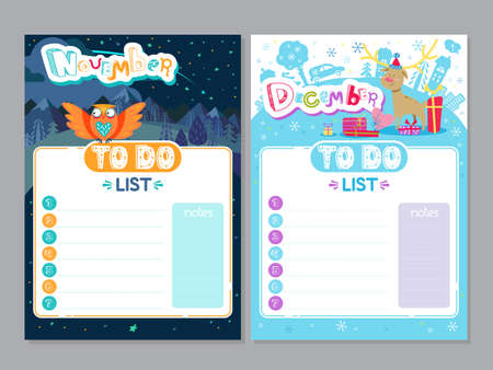 Cartoon To Do List design. Vector doodle illustrations. Inspirational organizer with cute animals and letters. Winter and Autumn background, seasonal card. November, December 矢量图像
