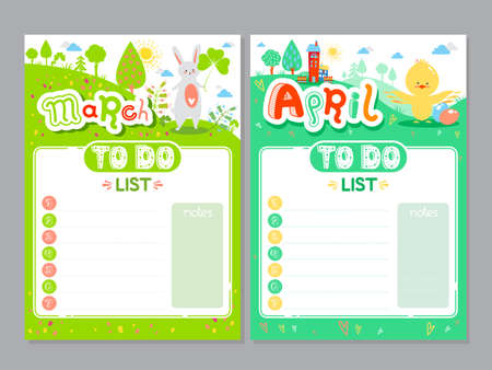 Cartoon To Do List design. Vector doodle illustrations. Inspirational organizer with cute animals and letters. Spring background, seasonal card. March, April