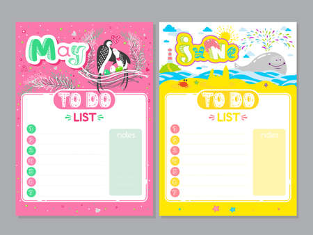 Cartoon To Do List design. Vector doodle illustrations. Inspirational organizer with cute animals and letters. Spring and Summer background, seasonal card. May, June 矢量图像