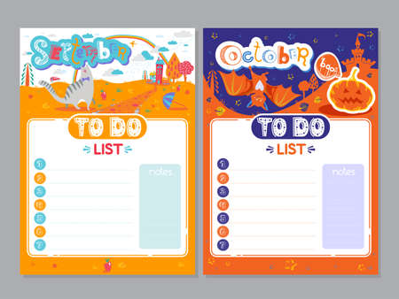 Cartoon To Do List design. Vector doodle illustrations. Inspirational organizer with cute animals and letters. Autumn background, seasonal card. September, October 矢量图像