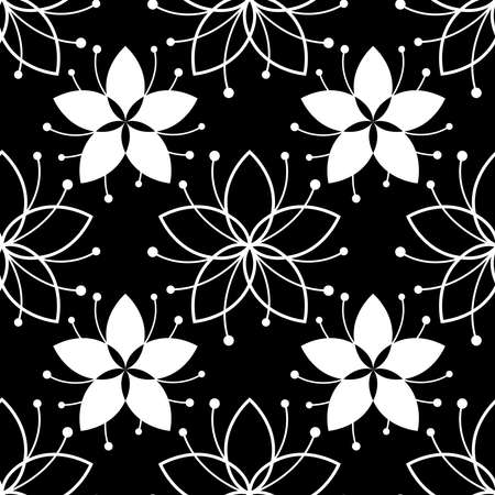 Lovely floral seamless pattern with simple flower. White on black background. Line illustration for textile, wrapping paper, fabric, greeting card, fashion. Vector monochrome backdrop with nature tune