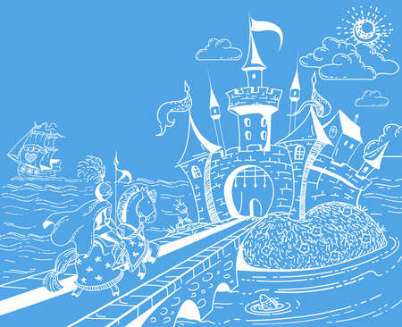 Cute and lovely hand drawn doodle landscape with castle, knight, ship, sea and flowers on blue background. Cartoon vector illustration. Copy space for text