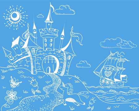 Cute and lovely hand drawn doodle landscape with castle, ship, sea, unicorn and flowers on blue background. Cartoon vector illustration. Copy space for text