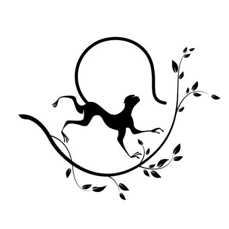 Silhouette of Monkey and branch. Animal cartoon vector illustration. Works well as icon, print, emblem, poster, insignia, label, tattoo or Chinese calendar element