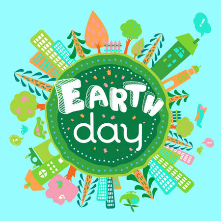 Earth Day greeting card. Cute doodle cartoon Globe image with trees, cities, flowers in vector.  Eco concept. Motivational childish ecology banner, background, poster.