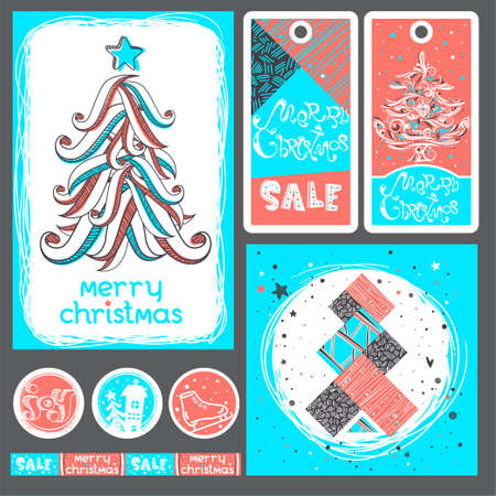 Merry Christmas banner, label, sticker Set with cute hand drawn text, christmas tree in vector. Inspirational poster. Winter trendy background. Works well as a discount coupon design or greeting card.