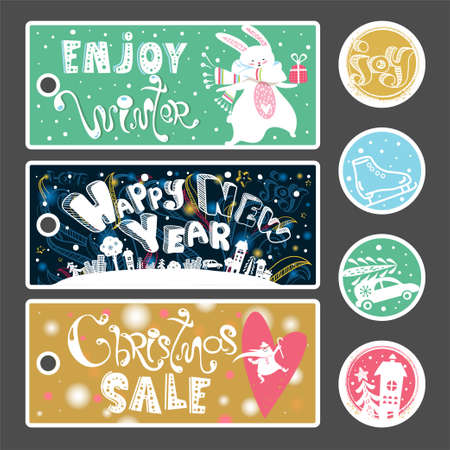Christmas Sale banner, label, sticker set. Cute hand drawn text, Santa Claus and gift box in vector. Inspirational poster. Winter trendy background. Discount design.