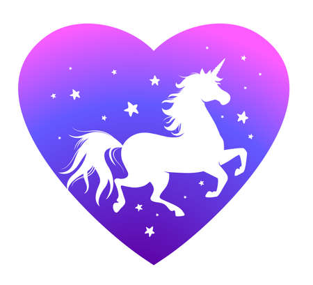 Running Unicorn silhouette with Heart shape. Cute poster with horse and stars. Cartoon character. Design element for childish accessories, apparel or sticker design, greeting card, textile print, decorative emblem, label, book cover, icon, mascot. Vector illustration