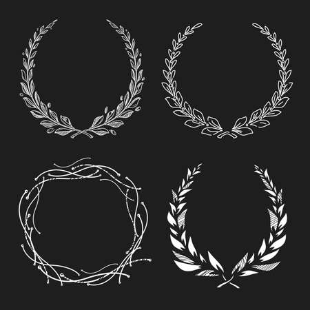 Hand drawn floral frame set. Laurel wreath collection. Award or victory sign. Chalk style on blackboard. Heraldry emblem with olive branch. Cute boho decor element for apparel, wedding invitation, label. Vector outlined illustration.