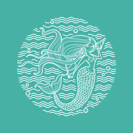 Mermaid and waves circle emblem. Linear style art for fashion, beauty salon, childish accessories, organic cosmetics. Siren silhouette with long hair and shell. Cartoon character. Doodle vector illustration, icon or print. White line on mint green background