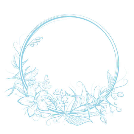 Circle frame with flower, leaf, berry and copy space. Blue and white doodle vector illustration for wedding or birthday card, label, decor, textile print, fairy tale book design. Cartoon outlined art