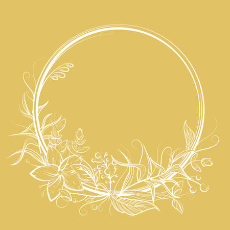 Circle frame with flower, leaf, berry and copy space. Golden and white doodle vector illustration for wedding or birthday card, label, decor, textile print, fairy tale book design. Cartoon outlined art 矢量图像