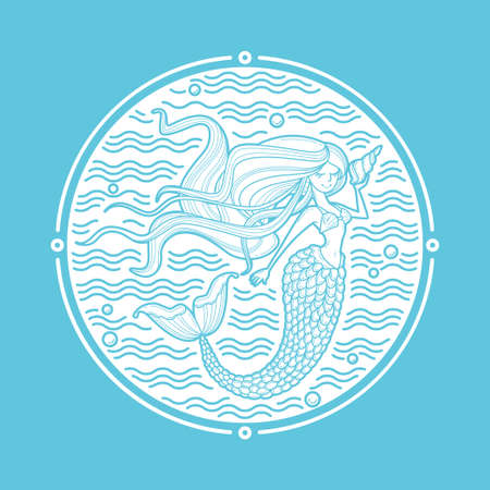 Mermaid and waves circle emblem. Linear style art for fashion, beauty salon, childish accessories, organic cosmetics. Siren silhouette with long hair and shell. Cartoon character. Doodle vector illustration, icon or print. White and blue