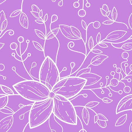 Cute seamless pattern with purple and white 5 petal flowers, leafs, burgeons, berries. Vector line art for fashion, textile, greeting cards, gift wrapping paper, scrapbooking with floral tune.