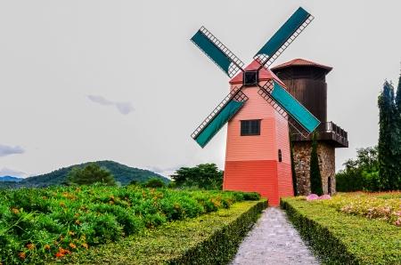 beautiful windmills in  garden  photo