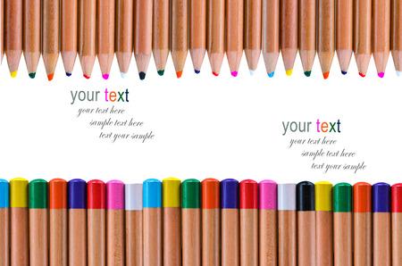 multi color pencil on white background photo