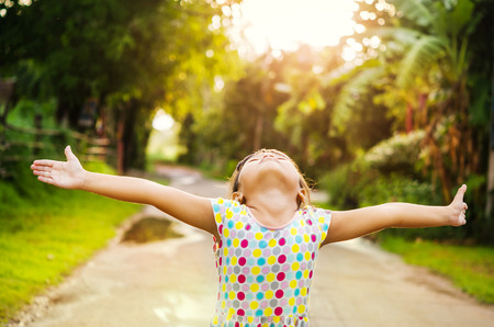 wide open spaces: Young girl relax outdoors. Freedom concept Stock Photo