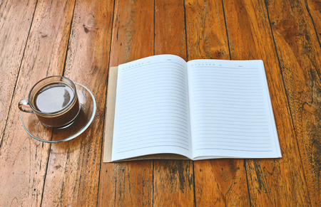 read magazine: cup of coffee with book blank