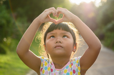 open hands: Happy child outdoors