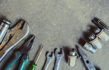 handtools: Wrench with nuts and bolt. Space for text