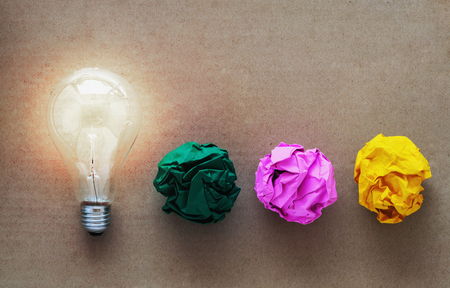 metaphor: idea concept with crumpled paper light bulb