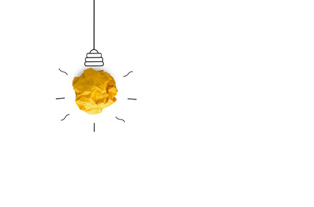 creative idea.Concept idea and innovation with paper light bulb on white background Imagens