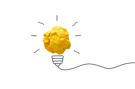 creative idea.Concept idea and innovation with paper light bulb on yellow background Imagens - 73782671