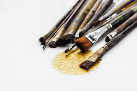 old paint brushes Stock Photo