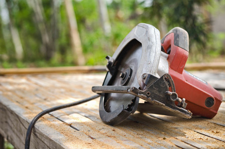 circular saw isolated on table  carpentry workshop Stock Photo