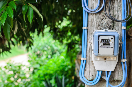 electricity meter installed on poles