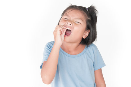 Little girl has sick is  toothache isolate on white background Stock Photo